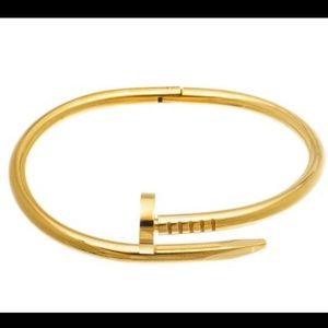 Goldtone Nail Bangle Bracelet